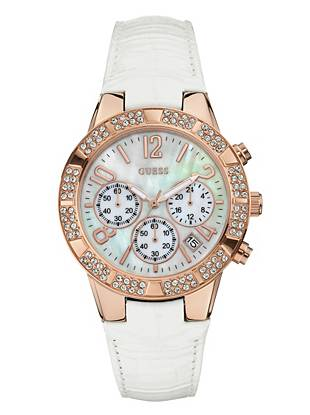 A radiant mother-of-pearl dial and sophisticated leather strap make this watch ideal for the girl with glamorous style. Rows of shimmering crystals add a welcome dose of sparkle that you (and everyone else) will love.
