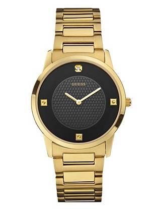 A smart analog design and standout gold-tone and black finish deliver masculine polish to this dress watch. Wear it during office hours or use it to take your dinner style to the next level.