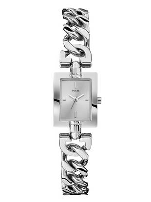 Silver-Tone Feminine Polished Petite Chain Watch