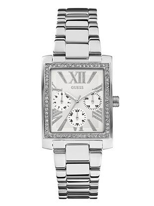 A modern square design and dazzling crystal details make this watch a glamorous addition to your existing arm candy. Layer it on with mixed-metal pieces for a trend-driven look everyone will envy.