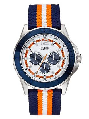Blue, Orange and Silver-Tone Masculine Racing Watch