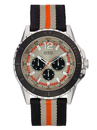 Black, Orange and Silver-Tone Masculine Racing Watch