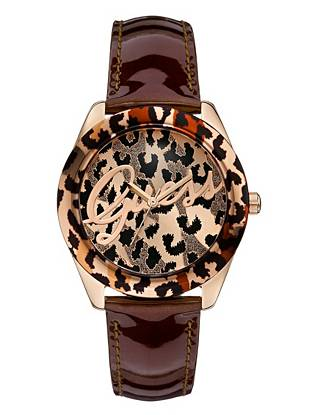 A sexy leopard print, high-shine patent and our coveted logo team up to create this must-have watch. Pair it with your casual daytime looks for an eye-catching pop of personality.