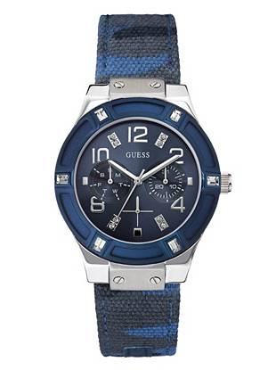 We're taking the blue watch trend to a whole new level with this detail-rich timepiece. Featuring dazzling crystals, trend-driven camouflage and a multifunctional design, it's the perfect way to make a statement.