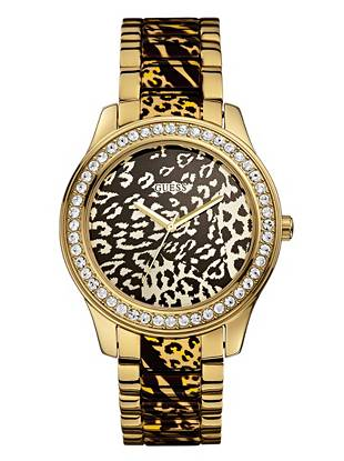 Gold-Tone Leopard-Print Sport and Sparkle Watch