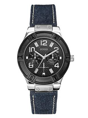 Denim, Black and Silver-Tone Standout Sparkle Watch