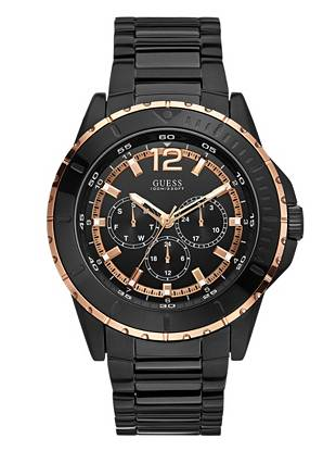 Bold black ionic-plated steel and modern rose gold-tone accents team up to create this wear-everywhere watch. Perfect for the outdoors and the office, it's a versatile accessory every guy should own.