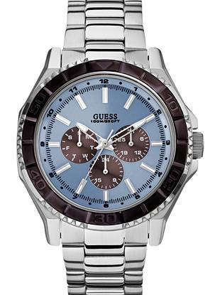 Blue and Silver-Tone Masculine Multifunction Sport Watch