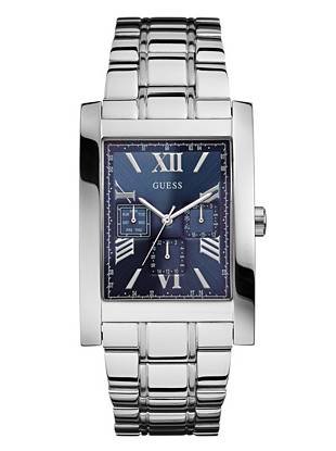 Blue and Silver-Tone Masculine Dress Watch