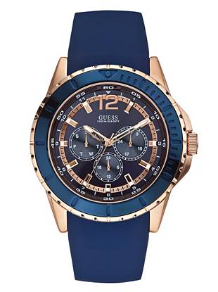 Blue and Rose Gold-Tone Masculine Racing Watch