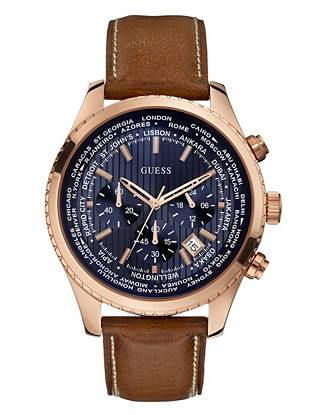 Ideal for the adventurous guy on the go, this timepiece works with both casual and dressy looks. The bold navy dial stands out amongst the modern rose gold tone and brown leather strap while the city detail has you counting the minutes until your next journey.