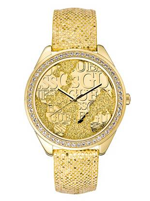 Perfect for the girl who loves to travel, this glittering map-inspired watch will have you dreaming of your next destination. A high-shine reptile-embossed strap only adds to the glamorously exotic design.
