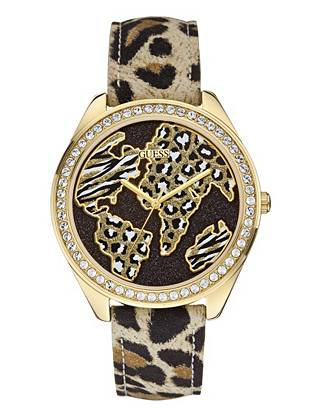 Black and Gold-Tone World of Treasures Watch