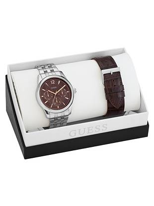 Brown and Silver-Tone Masculine Dress Watch Set