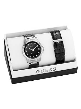 Black and Silver-Tone Handsome Diamond Watch Set