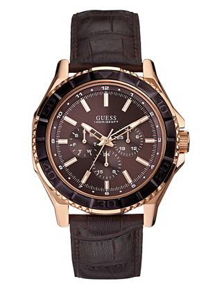 Perfect for day, night and every hour in between, this watch works overtime. The modern rose gold tone and crocodile-embossed strap deliver subtle edge to your trend-driven looks.