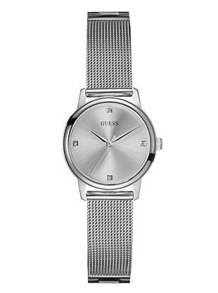 Silver-Tone Sophisticated Diamond Watch