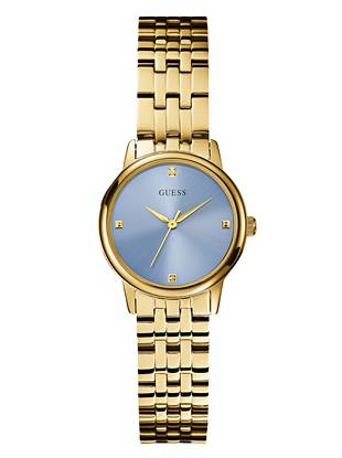Ice Blue and Gold-Tone Sophisticated Diamond Watch