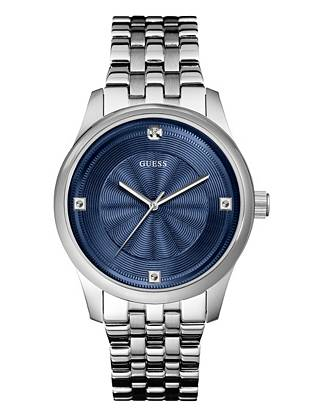 Blue and Silver-Tone Masculine Diamond Watch