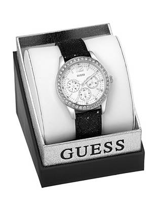 Treat yourself to glamorous around-the-clock style with this high-shine watch. Detailed with dazzling crystals and black sequins, then perfectly packaged in a logo gift box, it's what's on everyone's wish list this year.