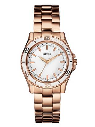 White and Rose Gold-Tone Mid-Size Sport Watch