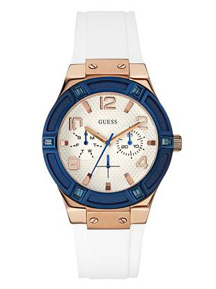 White, Blue and Rose Gold-Tone Standout Sparkle Watch