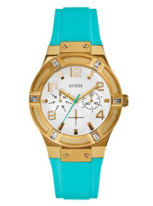 Turquoise and Rose Gold-Tone Standout Sparkle Watch