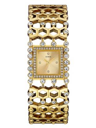 Gold-Tone Sparkle Cuff Watch