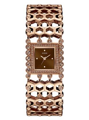 Brown and Rose Gold-Tone Sparkle Cuff Watch