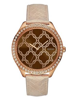 Brown and Rose Gold-Tone Sparkling Oversized Watch