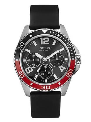 Black, Red and Silver-Tone Multifunction Sport Watch
