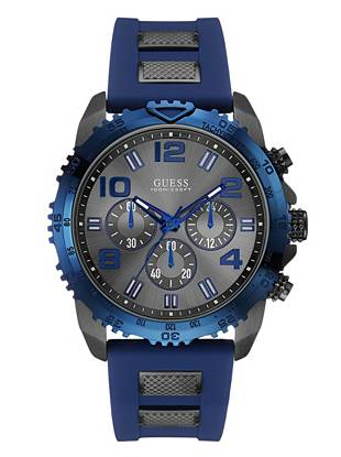 Blue and Gunmetal-Tone Masculine Style Watch