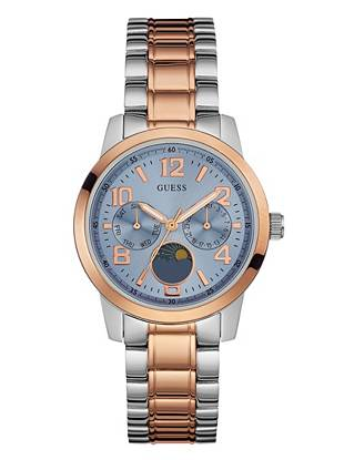 Ice Blue, Silver and Rose Gold-Tone Midsize Dress Watch