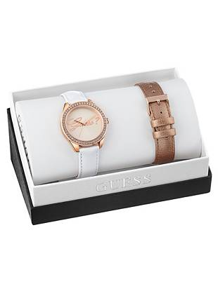White and Rose Gold-Tone Iconic Mid-Size Watch Set