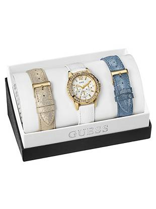 White, Blue and Gold-Tone Feminine Mid-Size Watch Set