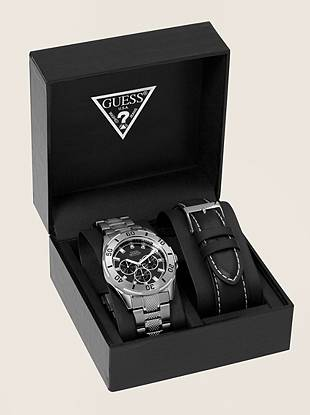 A masculine watch with versatile style.  Round stainless steel case with tachymeter detail.  Multi-function dial with SuperLuminova coated hands and pulsing second hand.  Two band options include stainless steel bracelet band and genuine black leather band.  Presented in a black gift box.   100m/ 330ft water resistant  Stainless steel back  Japanese movement