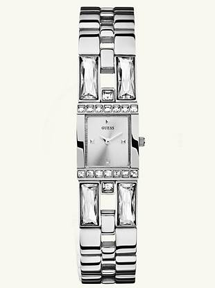A polished silver bracelet and a sprinkling of crystals detail this watch to make it a dazzling addition to any outfit.    • Analog function  • Watch dimensions in mm: 19/24/9       • Polished silver-tone case with crystals • Silver-tone dial • Polished silver-tone bracelet with crystals is self adjustable • Water resistant • 10 Year Limited Warranty