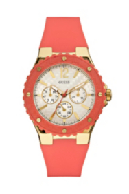 Coral and Gold-Tone Feminine Sport Watch