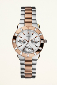 Feminine High-Shine Sport Mid-Size Watch - Rose Gold and Silver