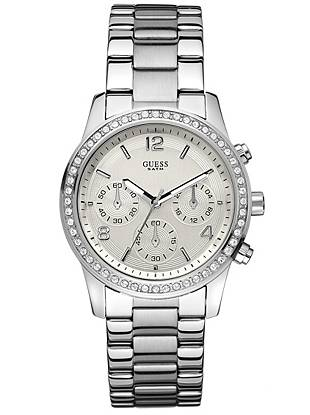 For the girl who wants it all, this watch delivers. Multiple functions, high shine and crystal embellishments keep you sleek and stylish for your on-the-go lifestyle.     • Chronograph: stopwatch function, 24 hour international time and date   • Watch dimensions in mm: 39/39/12   • Silver-tone and crystal case  • Silver-tone dial   • Brushed and polished steel bracelet   • Water resistant up to: 100 m/330 ft • 10 Year Limited Warranty