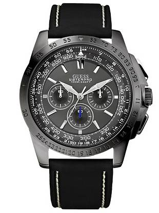 Exquisite styling and precise functions give you a distinctive, unparalleled edge with this powerful chronograph watch.     • Chronograph: stopwatch function and 24 hour international time  • Watch dimensions in mm: 49.5/46.5/14   • Gunmetal-tone case  • Gunmetal-tone dial  • Black silicone strap   • Waterpro water resistant up to:100 m/330 ft   • 10 Year Limited Warranty