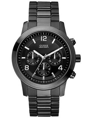 Chronograph: Stopwatch function, 24 Hour/Intl. time/Date  45/45/14   Brushed Ionic Black Plating with Polished Ionic Black Plating Top Ring   Black dial  Brushed + Polished Ionic Black Plated Steel Bracelet   100 M/330 FT Water resistant