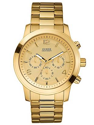 Chronograph: Stopwatch function, 24 Hour/Intl. time/Date  45/45/14   Gold-tone case  Gold-tone dial  Gold-tone steel bracelet   100 M/330 FT   10 Year Limited Warranty