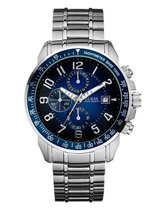 Rich blue tones bring new energy to this statement-making steel watch. Its sleek styling and sporty appeal make it ideal for dressy and casual looks.      • Chronograph: stopwatch and date functions   • Watch dimensions in mm: 45/45/13.5   • Brushed silver-tone case with blue top ring   • Gradient blue dial  • Brushed and polished silver-tone steel bracelet   • Water resistant up to: 100 m/330 ft   • 10 Year Limited Warranty