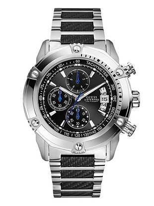 Why sacrifice style for function? This commanding black and silver-tone watch has all the features and still fits your dapper personal style.      • Multifunction: day, date and 24 hour international time • Mineral crystal glass  • Silver-tone stainless steel case  • Silver-tone and black stainless steel bracelet  • Black dial • Waterpro Water Resistant up to: 100 m/330 ft  • 10 Year Limited Warranty