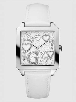 You can never have too much GUESS love! Slip on this white leather watch for an extra dash of eye-catching glimmer.      • Analog function • Dimensions in mm: 37/37/11   • Polished silver-tone case  • White dial with crystal hearts and logo symbols • White leather strap   • Waterpro Water Resistant  • 10 Year Limited Warranty