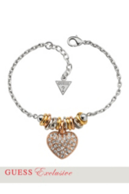 Mixed-Metal Pavé Crystal Heart Charm Bracelet