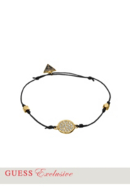 Gold-Tone Wax Cord Crystal Disc Bracelet