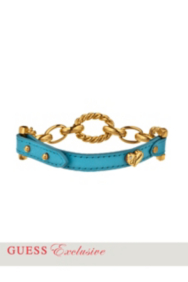 Blue Leather Chain-Link Bracelet