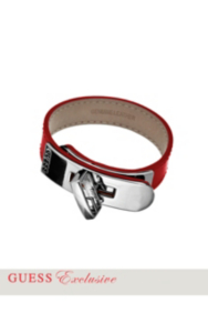 Red Leather Turnlock Bracelet